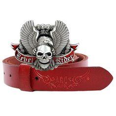 Men Antique Red Cowhide Leather Gothic Punk Rock Skull Waist Belt SKU-71107114