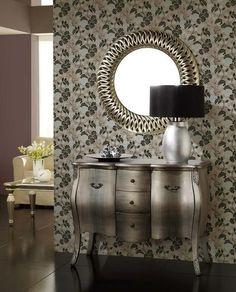 espejo decorativo con marco de poliresina calado en color pan de plata cm x cm