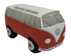 Cute VW Campervan cushion that is officially licensed by VW featuring a 1962 VW Campervan in bright, vivid red. £19.50