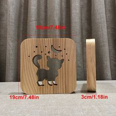 Creative Wood Cat Warm White LED USB Night Light Child Birthday Xmas Gift for sale online Wooden Lamp, Wooden Toys, Girl 3d, Cat Light, Farmhouse Pendant Lighting, Wood Cat, White Lead, Hello Kitty, Xmas Gifts