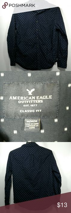 aeo dobby medium button down shirt mens navy No holes rips or stains. wooden buttons  kid wore a few times and is switching styles American Eagle Outfitters Shirts Casual Button Down Shirts