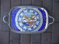 Silverplate Mosaic Tray  with American Eagle Focal by mosaicsbyme, $130.00