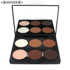 Professional Women Makeup Face Pressed Powder Foundation 6 Colors Grooming Highlight And Contour Shadow Powder Palette Cosmetics