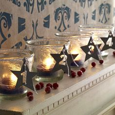 adventskranz-frostglaeser - A German Girl in America Frosted Candle holders and numbered stars make this simple Advent Wreath so beautiful. Advent Candles, Christmas Candles, Christmas Love, Winter Christmas, All Things Christmas, Christmas Ideas, Advent Wreath, Idee Diy, Diy Décoration