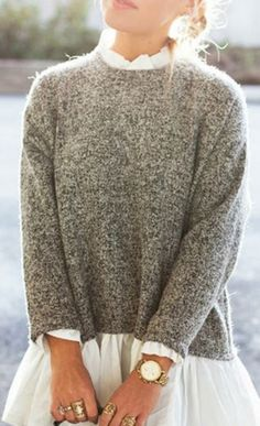 Looks I LOVE! Chic Faux Twinset Stand Neck Long Sleeve Sweater Fashion #Faux #Twinset #Sweater #Fashion #Gift #Ideas