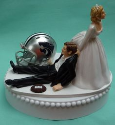 Wedding Cake Topper Kansas St. State University Wildcats KSU Football Themed w/Garter, Display Box