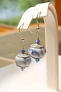 """Pin it if you love it! """"Crunchy"""" Lampwork Glass DROP EARRINGS with Swarovski crystals. Lampwork from Donna Millard. Designed and created by Joann Hayssen Designs SRA $34.00 https://www.etsy.com/listing/190998020/lampwork-glass-drop-earrings-swarovski?ref=shop_home_active_1"""
