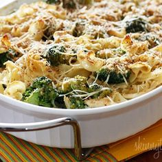 Chicken and broccoli noodle casserole Shredded chicken breast and broccoli cooked with noodles in a light creamy sauce topped with toasted breadcrumbs. A simple dish the whole family will love, even the little ones!