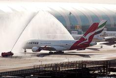 Qantas Airbus Water Salute At Dubai Aircraft Wallpaper 4046 Qantas Airbus while water cannon salute at Dubai International. Qantas A380, Airbus A380, Water Cannon, Civil Aviation, Commercial Aircraft, Aircraft Pictures, Night Life, Airplanes, Celebrations