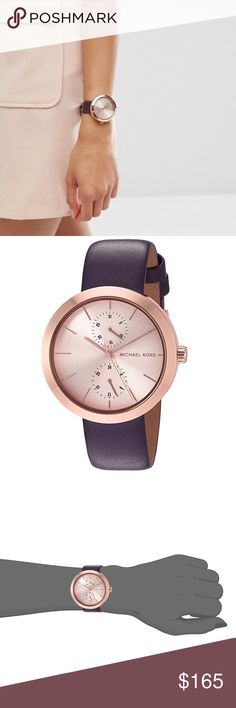 Michael Kors rose gold garner purple watch Authentic, brand new, Michael Kors rose gold garner leather band watch. Genuine leather. A beautiful plum dark purple color with a stainless steel rose gold face. This gorgeous watch comes in the original watch box with pricetag, pillow, and authenticity/warranty booklet. This watch would be super cute stacked with some bracelets as well! Michael Kors rose gold garner purple watch. Michael Kors Accessories Watches