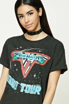 """A knit tour tee featuring a """"Van Halen 1980 Tour"""" and galaxy star graphics on the front, a """"1980 Tour Van Halen"""" and list of tour dates on the back, a round neckline, and short sleeves."""