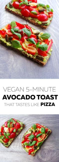 Healthy savory vegan breakfast or snack - quick and easy avocado toast that tastes like pizza. To make gluten-free and paleo - use gluten-free/paleo bread.