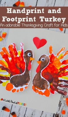 Adorable Handprint and Footprint Turkey Thanksgiving Kids: Easy to make for kids to decorate for Thanksgiving or give to people in their life they are thankful for (like mom and dad, grandma and grandpa). (November, kids craft, Preschool, Kindergarten, Thanksgiving Craft) #crafts