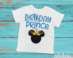Mickey Mouse Birthday Prince SVG Cut File Set for Disney Birthday Shirts