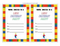 Free Printable Lego Birthday Party Invitations for your next birthday celebration. Description from allfreeprintable.com. I searched for this on bing.com/images