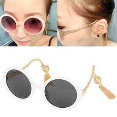Avalon White Tassel Decorated Design Alloy Sunglasses www.asujewelry.com