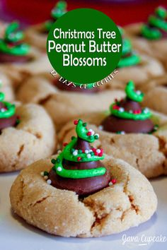 Christmas Tree Peanut Butter Blossoms | JavaCupcake.com