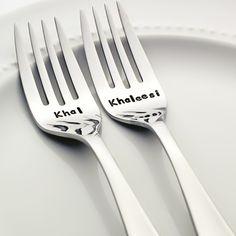 Game of Thrones Khal/Khaleesi - Stamped Wedding Forks (Stainless Steel)