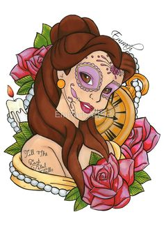 Belle Disney Day Of The Dead Style by EmRachArt92