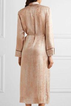 Raquel Allegra - Silk-damask Wrap Dress - Beige - 0