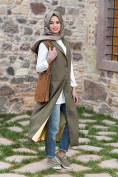 8010 Haki Yeşil Oversize Yelek Army Look, Hijab Fashion, Duster Coat, Raincoat, Jackets, Style, Rain Jacket, Down Jackets, Swag