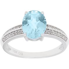 Color 10k White Gold 1/8ct TDW Diamond and Gemstone Ring (G-H, I1-I2) (