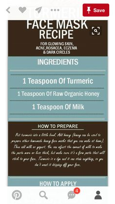 Turmeric Face Mask Recipe for Glowing Skin, Acne, Rosacea, Eczema and Dark Circles Rosacea Remedies, Natural Acne Remedies, Natural Acne Treatment, Acne Rosacea, Acne Skin, Dark Circles, Beauty Hacks, Masks