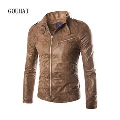 Leather Jacket Men 2016 New Mens Motorcycle Jacket European American Style Short Slim Fit Man Casual Leather Coats M-XXL