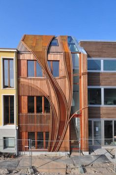 Multi-layerd wood Facade, shows the capability of wood.    24H> architecture  Leyden, The Netherlands