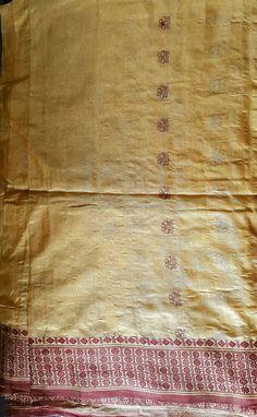 Vintage Indian pure silk tissue saree/ long length fabric /