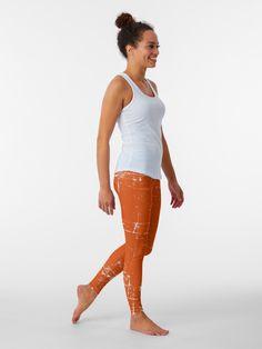 """Grungy Burnt Orange Design"" Leggings by CreatedProto Tangerine Color, Burnt Orange Color, Rust Orange, Burnt Orange Dress, Orange Skirt, Burnt Orange Curtains, Best Leggings For Work, Orange Outfits, Orange Home Decor"