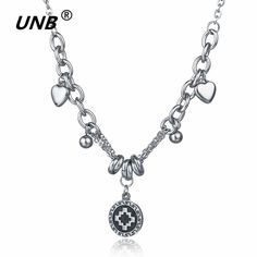 UNB Stainless Steel Chokers Necklaces for Women Exquisite Pendant Love Combination Silver Chain Necklace Mother's Day Gifts 2017