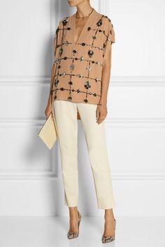 By Malene Birger|Mylene embellished crepe top|NET-A-PORTER.COM