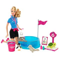 SeaWorld Trainer Barbie Doll |   Barbie I Can Be Sea World Playset 2013