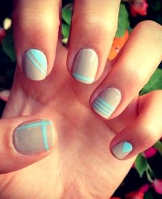 Mint and Nude Nails