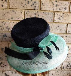 Soft Green and Black Melbourne Cup Hat Races Hat Sinamay