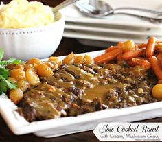 Slow Cooked Roast With Creamy Mushroom Gravy - Years ago, Sunday roast was a tradition in my family. I have a wonderful childhood memory of family gathering around the table and enjoying this delicious meal after church. Even though I've branched out quite a bit since then, it is still at the top of my list of favorite comfort foods. Using your slow cooker to make dishes like this Slow Cooked Roast With Creamy Mushroom Gravy allows you to turn cheaper cuts of meat into fall apart deliciou... Slow Cooker Roast, Crock Pot Slow Cooker, Crock Pot Cooking, Slow Cooker Recipes, Crockpot Recipes, Cooking Recipes, Crockpot Potroast, Crock Pots, Dutch Recipes