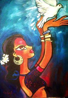 Индийские женщины. Niloufer Wadia Indian Art Paintings, Colorful Paintings, Unique Paintings, Watercolor Paintings For Beginners, Madhubani Art, Indian Folk Art, Krishna Art, Naive Art, Belleza Natural