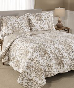 Look what I found on #zulily! Mocha Bedford Deluxe Quilt & Sham Set by Laura Ashley Home #zulilyfinds