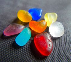 From my personal collection - RARE colors of sea glass! ORANGE!  RED! PURPLE! TURQUOISE, cobalt, gold yellow and lavender! For sea glass jewelry. Listed in my Etsy shop, SeaGlassFromHawaii, 11/17   SOLD
