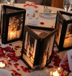 Centerpiece alternative - framed tri-photos lit by inside candle.  Would be great as sitting place cards if you could get wedding or couples photos of your guests or singles (youngster?) photos to use.