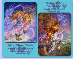 """Elementals of the Air, Sylphs """"Celeste Pristine,"""" """"Ariel Aurora,"""" and """"Mary Moriah""""    Sylphs of the AirCeleste Pristine, Ariel Aurora, and Mary Moriah are beautiful Elementals of the Air and are etheric and almost transparent.    These sylphs of the air are always accompanied by graceful birds, butterflies, and Teeny Tinies as they gather a great wind, and with the help of the Holy Spirit, they clean the air and restore balance to the land.    When these Elementals mimic the negative and… Barbara Moore, Josephine Wall, Earth Wind, Do You Believe, Holy Spirit, Faeries, Restore, The Help, Aurora"""