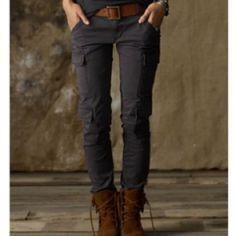 Skinny leg cargo pants