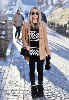 Cute, cozy & comfy in an oversized sweater, coat, leggings & warm boots!