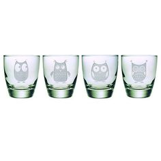 Cute owl etches glassware - LOVE THESE!!!! WANT!!!