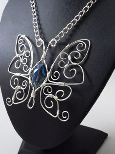 Wire Wrapped Butterfly Necklace Sterling by SerenityInChains