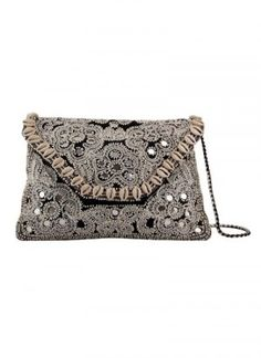 Black shell bead embroidered clutch