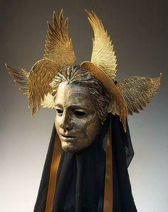 """ (via Vanth Etruscan Psychopomp by TheArtOfTheMask on Etsy) "" That looks uncomfortable to wear. Half Elf, Costume Venitien, Bayonetta, Masks Art, 3d Prints, Angels And Demons, Oeuvre D'art, Headdress, Costume Design"