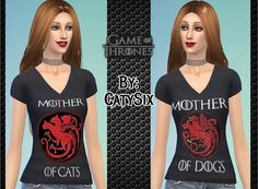 3 T-Shirts Game of Thrones (For Her) at CatySix • Sims 4 Updates