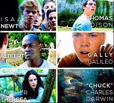 Newt, Thomas, Alby, Gally, Theresa, Chuck